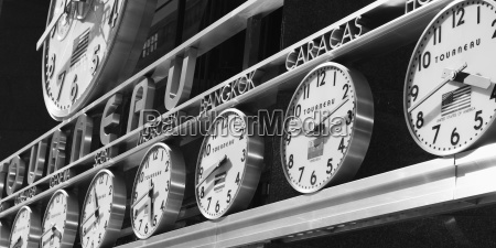 clocks with times from around the