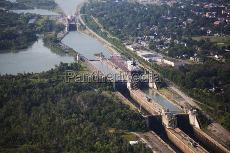 aerial of the welland canal and