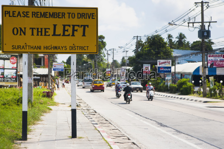 a sign warning foreigners to drive