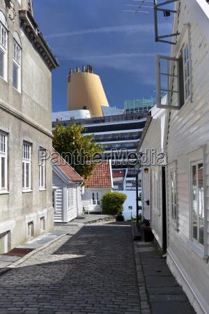 cruise ship docked at stavanger viewed