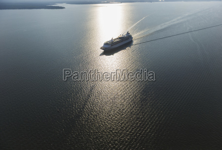 aerial view of a cruise ship
