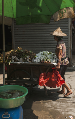 a woman carries her cart full
