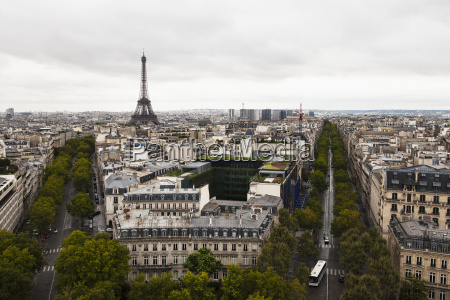 eiffel tower and streets during the