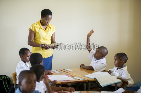 young students with a teacher in