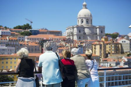 senior cruise passengers waiting for boat