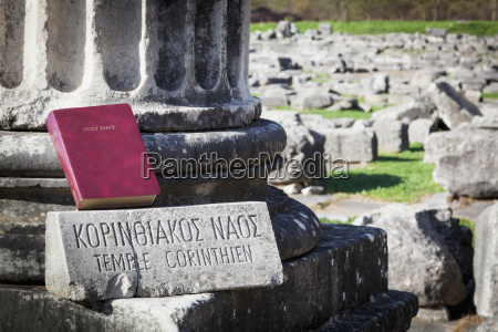 bible sitting at temple ruins philippi