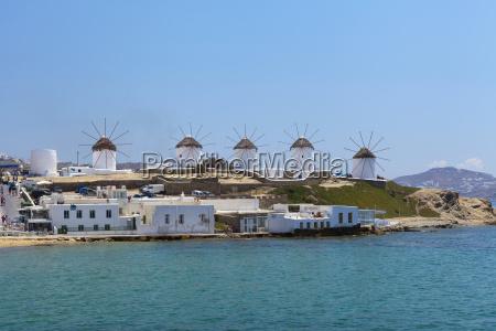 windmills and tourist destination chora mykonos