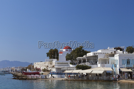 buildings along the bay chora mykonos