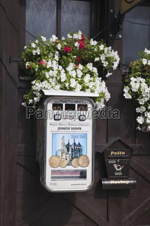 post box and souvenir coin machine