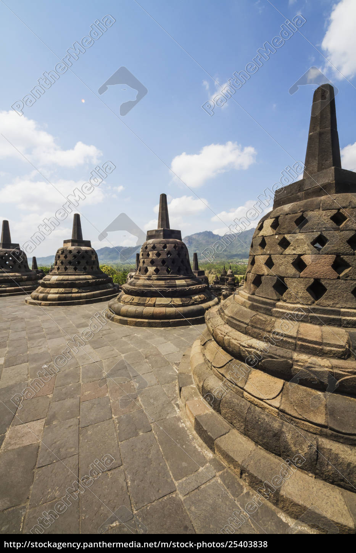 latticed, stone, stupas, containing, buddha, statues - 25403838