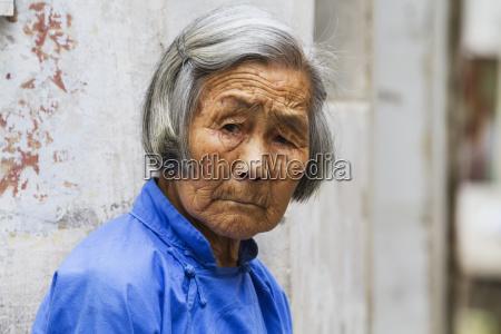 old chinese woman hongcun anhui china