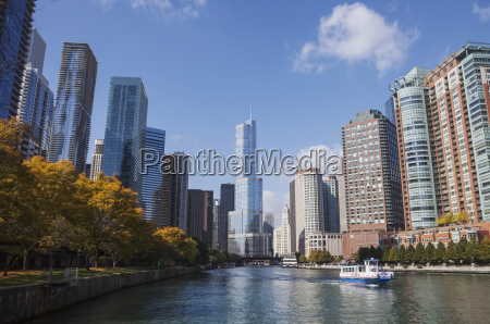 view of downtown chicago from riverwalk