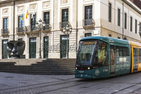 teatro guimera with tranvia tram passing