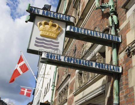 stroget copenhagen denmark sign on porcelain