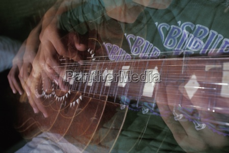multi layered picture of a guitar