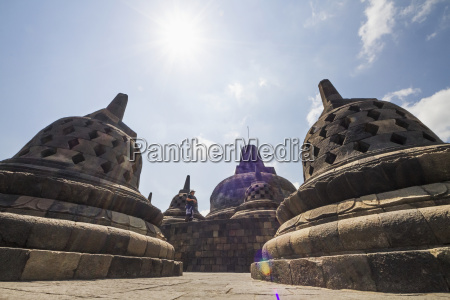 latticed, stone, stupas, containing, buddha, statues - 25407442
