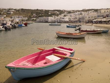 boats in mykonos marina mykonos greece
