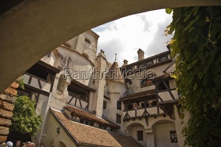 bran castle draculas castle low angle