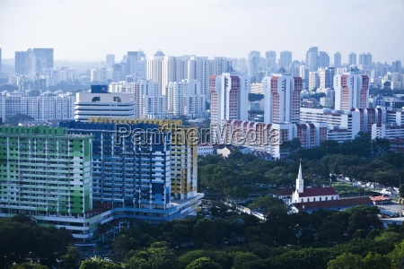 central business district cityscape aerial view