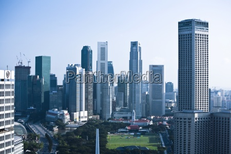 skyline with the padang and skyscrapers