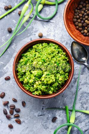delicious, basil, pesto, sauce - 25411774