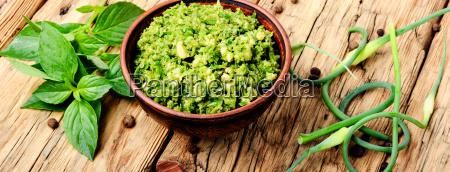delicious, basil, pesto, sauce - 25411776