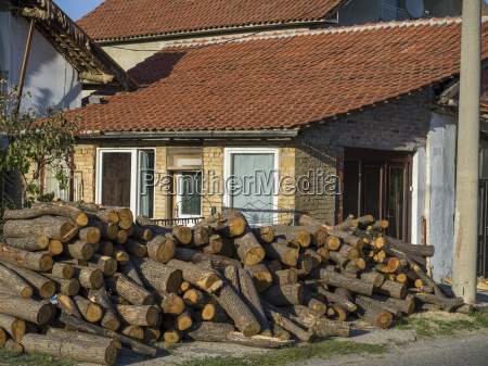 a house with a large pile