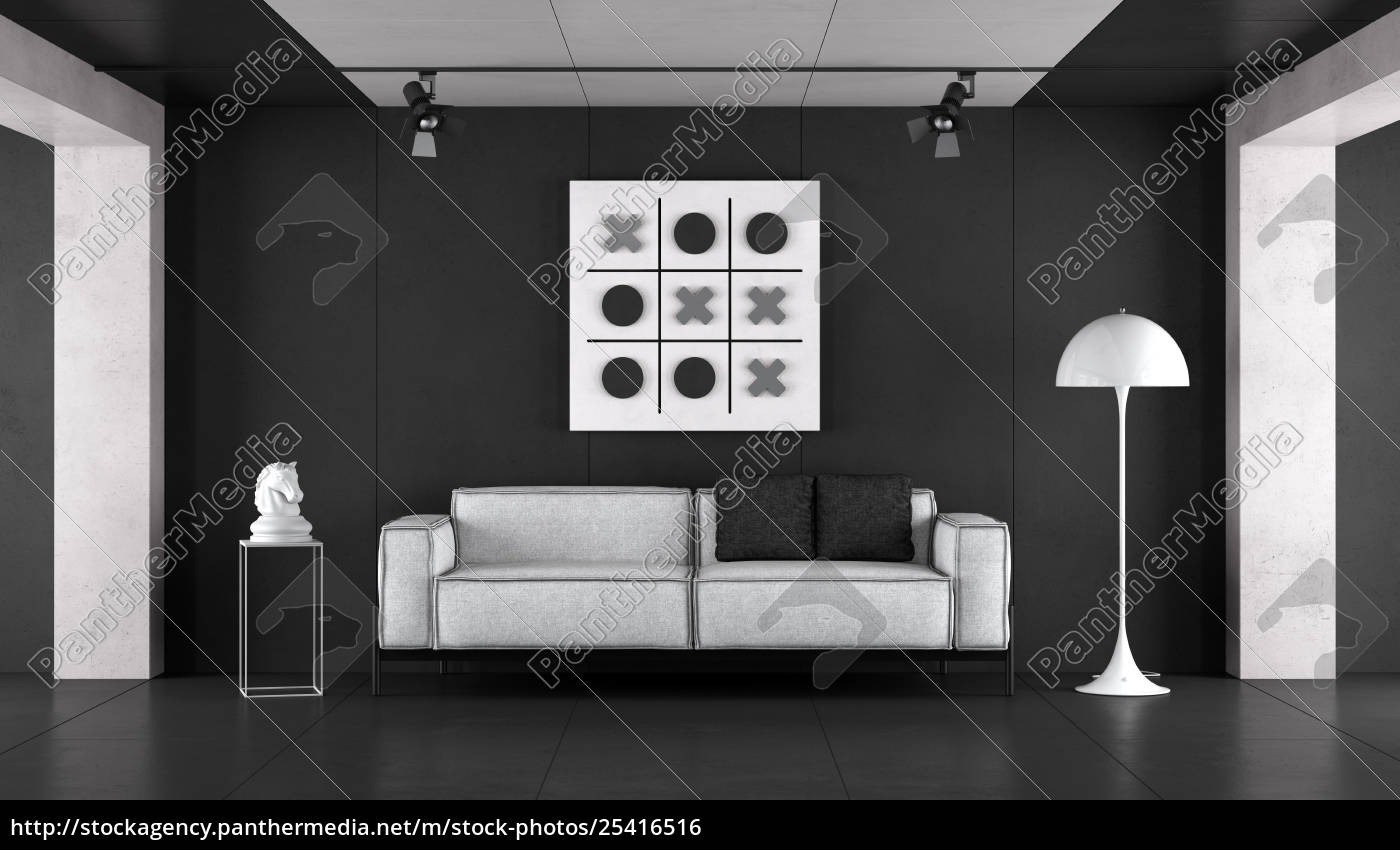 minimalist, black, and, white, living, room - 25416516