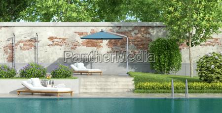 luxury garden with pool