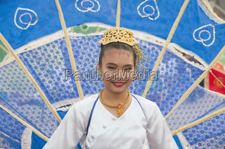 woman in flower festival chiang mai