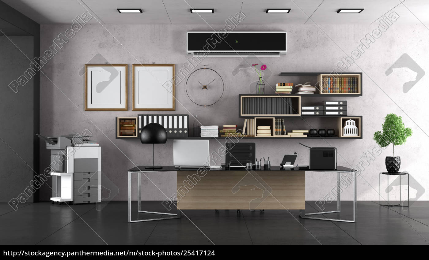 modern, office, with, large, desk - 25417124