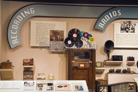 display of vintage music devices