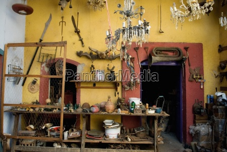 traditional mexican interior full of antique