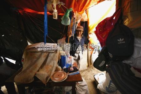 inside poverty stricken dwelling lima peru