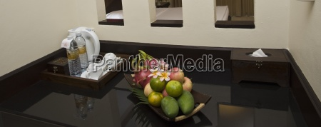 a beverage and fruit tray displayed