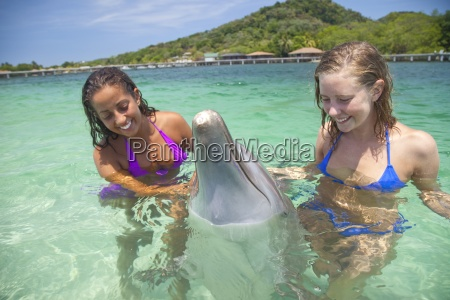 young women in the water with
