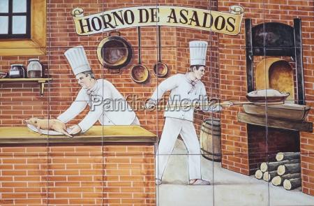 ceramic tile painting of cooks preparing
