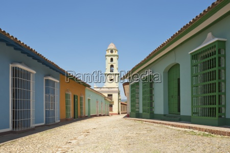 typical cobbled street and cuban houses