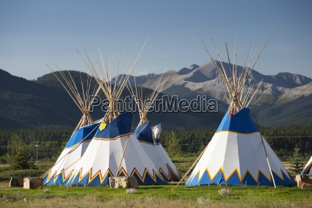 teepees in the mountains alberta canada