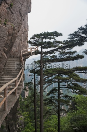 stairway on huang shan yellow mountain