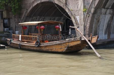 boat on the canal zhujiajiao shanghai