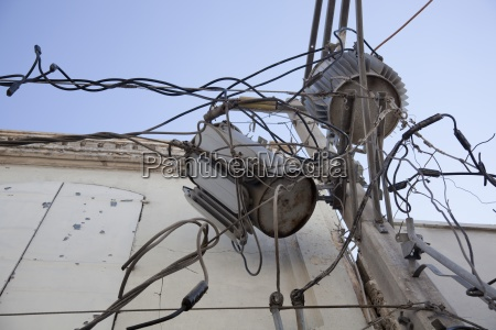 damaged electrical wires and transformers after