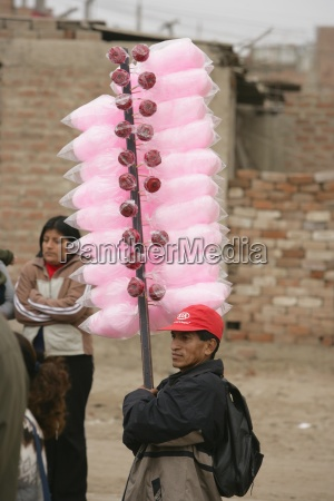 candy floss and candy apple vendor
