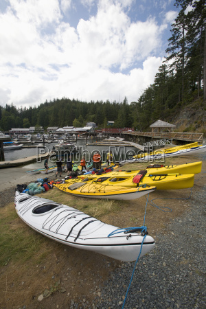 kayakers prepare to go on a