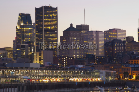 montreal skyline at dusk montreal quebec