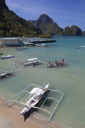 bangka boats sit in the picturesque