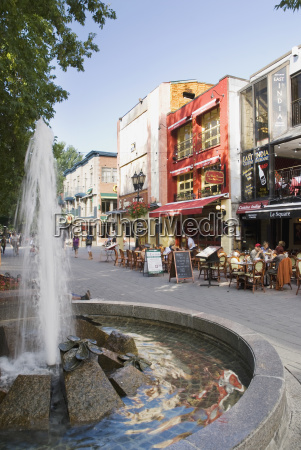 water fountain and street in old