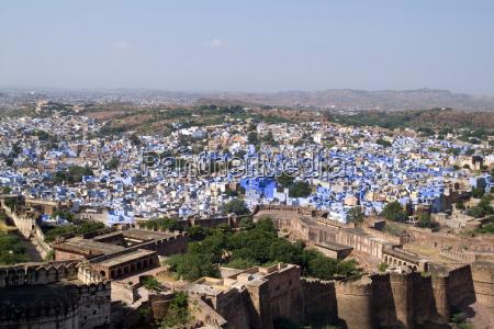 india blue city of jodhpur showing