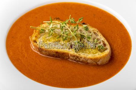 fresh tomato soup in a bowl