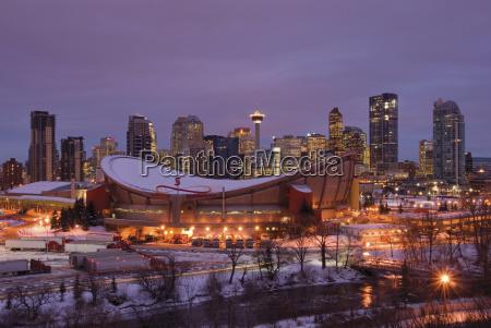 winter sunrise on the city of